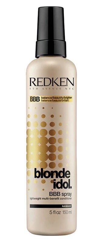 RedkenRedken<br>Производство: США Спрей улучшит текстуру волос - сделает пряди ровными и гладкими, защитит при укладке парикмахерскими инструментами. Средство насытит стержни волос кератином, витаминами, микроэлементами, будет полезным для волос любого типа.<br>Легкий спрей Редкен защитит окрашенные в цвета блонд волосы от термического воздействия щипцов, фена и утюжка. По всей длине волосы будут увлажнены и восстановлены, на что укажет естественный здоровый блеск локонов. В основе спрей-ухода Blonde Idol BBB уникальная Kera-Bright System с кератином - белком, идентичным натуральному компоненту, из которого строится стержень волоса.<br>Активные компоненты:<br><br>экстракт листьев фиалки&amp;nbsp;- активизирует процессы регенерации (обновления) клеток;<br>молочная кислота&amp;nbsp;- стимулирует синтез коллагеновых волокон, делает волосы прочными и крепкими.<br><br>Рекомендуем купить&amp;nbsp;Redken спрей BBB, средство&amp;nbsp;линии Blonde Idol&amp;nbsp;- косметика для светлых натуральных и окрашенных волос, и напоминаем, что сделать это можно со скидкой.<br>Результат: волосы по всей длине выглядят ухоженными и блестящими. Цвет белокурых локонов чистый, естественный, без желтых или серых пятен.<br>Способ применения:&amp;nbsp;спрей-уход Blonde Idol BBB нанести на чистые пряди ( для мытья рекомендуем безсульфатный&amp;nbsp;шампунь Блонд Айдол) . Для легкого ухода средство можно смыть через две минуты или оставить, не смывая, для интенсивного воздействия.<br><br>Линейка: Redken<br>Объем мл: 150<br>Пол: Женский