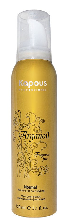 Arganoil KapousKapous<br>Производство: Италия Kapous мусс аэрозольный для волос нормальной фиксации с маслом арганы серии Arganoil &amp;ndash; профессиональное средство, наделенное средним уровнем фиксации, позволяющее запечатлеть Вашу прическу без эффекта липкой, жирной пленочки.&amp;nbsp;Мусс не содержит парфюмированных добавок и имеет невероятно легкую текстуру, что делает работу со средством простой и очень приятной.<br>Масло Арганы проникает в глубинную структуру волоса, предотвращая его иссушение и наделяя роскошным, мерцающим блеском. Мусс рекомендован для использования на всех типах волос вне зависимости от жесткости длины.<br>Способ применения: мусс рекомендуется использовать на чистых, слегка влажных волосах. Тщательно встряхните баллон со средством, переверните его кверху донышком и выдавите немного состава на ладонь. Распределите мусс по всей длине или проработайте волосы у корней. Приступайте к укладке привычным способом.<br><br>Линейка: Arganoil Kapous<br>Объем мл: 150<br>Пол: Женский