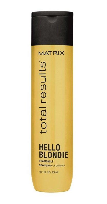 MatrixMatrix<br>Производство: США Шампунь Matrix Total Results Hello Blondie с экстрактом ромашки смягчает волосы, придает им блеск и облегчает расчесывание. Бережно заботится о качестве цвета блонд, придавая бриллиантовый блеск волосам надолго.<br>Обладает защитой от УФ-лучей. Предназначен специально для ухода за окрашенными и натуральными волосами оттенков блонд.<br>Способ применения: нанести на влажные волосы. Вспенить. Смыть водой. Затем использовать кондиционер Total Results Hello Blondie.<br><br>Линейка: Matrix<br>Объем мл: 300<br>Пол: Женский