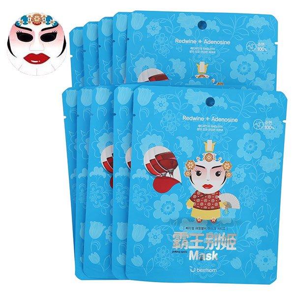 Peking opera mask series -QUEEN BerrisomBerrisom<br>Пекинская опера &amp;ndash; самая известная китайская опера в мире. Одна из самых красивых особенностей Пекинской оперы &amp;ndash; разноцветье лиц: они бывают белыми, как мел, желтыми, как песок, синими, как небо, красными, как кровь, и золотыми, как солнце. Очень похоже на маски, но &amp;ndash; не маски: краска накладывается прямо на лицо.<br>Если вам нравится пекинская опера, вы по достоинству оцените и маски от BERRISOM.<br>Рисунок нанесен только на одну сторону маски, поэтому совершенно безопасен для кожи. Нежнейший органический хлопок, из которого сделана маска, подходит даже для самой чувствительной кожи. Мягкое и плотное прилегание обеспечивает глубокое проникновение в кожу активных компонентов маски.<br>Активные компоненты:<br><br>Керамиды&amp;nbsp;&amp;ndash; восстанавливают липидный барьер верхнего слоя эпидермиса сухой и огрубевшей кожи, обеспечивают интенсивное увлажнение. Благодаря керамидам в составе маски, кожа в короткие сроки после применения восстанавливается, уменьшаются признаки обезвоженности, разглаживаются морщинки. Керамиды снимают шелушения кожи, дарят ей гладкость и шелковистость.<br>Ледниковая вода&amp;nbsp;&amp;ndash; интенсивно увлажняет кожу, насыщает ее важнейшими микроэлементами, тонизирует и дарит невероятное ощущение свежести, нормализует и ускоряет процессы восстановления клеток.<br>Экстракт красного вина&amp;nbsp;&amp;ndash; оказывает антиоксидантное и эстрогенное воздействие, стимулируя синтез коллагена и предотвращая изменение в его структуре. Полифенолы защищают поверхность кожи от агрессивного воздействия внешней среды (УФ-излучения, загазованности воздуха, сигаретного дыма и т.д.). Экстракт красного вина омолаживает, защищает кожу от раннего старения, укрепляет кровеносные сосуды, уменьшает раздражения и воспаления на коже, тонизирует, снимает усталость кожи, восстанавливает вялую и тусклую кожу, насыщает её энергией.<br>Аденозин&amp;nbsp;&amp;ndash; регулирует окислительно