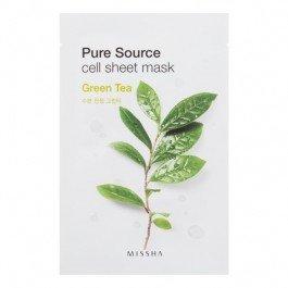 Pure Source Cell Sheet Mask (Green Tea) MisshaMissha<br>Маска с зеленым чаем увлажняет и успокаивает чувствительную кожу. Листья зеленого чая уменьшает раздражительность кожи, увлажняя и питая ее.<br>        <br>Одноразовая листовая маска на тканевой основе позволяет быстро и приятно освежить и увлажнить кожу, что актуально в любое время дня: и утром &amp;ndash; после сна, и днем &amp;ndash; перед важным событием, и вечером &amp;ndash; чтобы привести кожу в порядок перед романтическим свиданием.<br>Missha Pure Source Cell Sheet Mask Green Tea &amp;ndash; маска с зеленым чаем увлажняет и успокаивает чувствительную кожу.&amp;nbsp;Листья зеленого чая уменьшает раздражительность кожи, увлажняя и питая ее.&amp;nbsp;<br>Способ применения: нанести маску на очищенную и тонизированную кожу на 20-30 минут, затем маску снять, а остатки средства распределить по коже до полного впитывания.<br><br>Линейка: Pure Source Cell Sheet Mask (Green Tea) Missha<br>Объем мл: 21<br>Пол: Женский