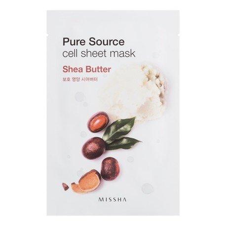 Pure Source Cell Sheet Mask (Shea Butter) MisshaMissha<br>Одноразовая листовая маска на тканевой основе позволяет быстро и приятно освежить и увлажнить кожу, что актуально в любое время дня: и утром &amp;ndash; после сна, и днем &amp;ndash; перед важным событием, и вечером &amp;ndash; чтобы привести кожу в порядок перед романтическим свиданием.<br>Missha Pure Source Cell Sheet Mask Shea Butter &amp;ndash; маска с маслом ши<br>Глубоко питает и увлажняет кожу, разглаживает ее и смягчает, помогает укрепить тургор кожи и сокращает выраженность морщин. Крем защищает кожу рук от пересушивания и обветривания.<br>Способ применения: нанести маску на очищенную и тонизированную кожу на 20-30 минут, затем маску снять, а остатки средства распределить по коже до полного впитывания.<br><br>Линейка: Pure Source Cell Sheet Mask (Shea Butter) Missha<br>Объем мл: 21<br>Пол: Женский