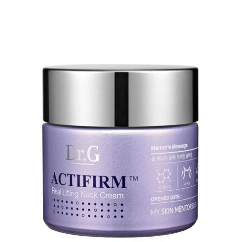 Actifirm Dr. GDr. G<br>Продукт обладает прекрасным увлажняющим эффектом, способствует регенерации тканей, синтезу коллагена, являющегося основнымстроительным материалом клеток. Средство также обладает мощным антиоксидантным воздействием, защищает дерму от агрессивного воздействия окружающей среды, способствуя улучшению текстуры кожи.<br>        <br>Лифтинг крем для нежной поверхности шеи активатор стволовых клеток (Eternal-P), эластичный компонент (Activision farm), ликопин, ацетил гексапептид - 8 и др. Активная формула Activision farm + Etermal-P позволяет проникать ингредиентам в глубочайшие слои дермы, что высокоэффективно стимулирует взаимопроникновение межклеточного вещества, поддерживает эластичность, упругость.<br>Продукт обладает прекрасным увлажняющим эффектом, способствует регенерации тканей, синтезу коллагена, являющегося основным строительным материалом клеток.&amp;nbsp;Средство также обладает мощным антиоксидантным воздействием, защищает дерму от агрессивного воздействия окружающей среды, способствуя улучшению текстуры кожи.<br>Аргирелин (Ацетилгексапептид-8) - это синтетический липо-пептид, препятствующий активному сокращению мышц, тем самым предотвращающий формирование мимических морщин. Этот ингредиент воздействует на нервно-мышечный синапс, блокируя нервный импульс, приводящий мышцы в движение, поэтому они расслабляются, а мимические морщинки уменьшаются.<br>Аргирелин также сохраняет натуральное выражение лица, т.к. не блокирует полностью мимическую активность.<br>Среди ингредиентов лифтинг крема содержится ликопин (в экстракте томата), это природное соединение, придающее насыщенный красный цвет. Этот элемент является очень сильным естественным антиокидантом, превосходящим по своим характеристикам признанных защитников от свободных радикалов - витамины E и C.<br>Продукт является интенсивным антиоксидантным средством, обладает прекрасными омолаживающими свойствами, улучшает тон лица, разглаживает морщины, он рекомендован для обладательниц кожи с недо