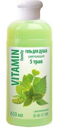 5 трав гель для душа смягчающий EFTI CosmeticsEFTI Cosmetics<br>Приятный гель для душа поможет вам сделать кожу вашего тела нежной и гладкой. Средство насытит кожу необходимыми витаминами, мягко очистит от загрязнений.<br>        <br>Гель для душа смягчающий с экстрактами мяты, клевера, крапивы, зеленого чая и хмеля, содержащими витамины А, В6, С, РР. Мягко очищает кожу, также придает гладкость и шелковистость.<br>Состав: вода, натрий лаурет сульфат, натрий хлорид, диэтаноламиды жирных кислот кокосового масла, кокамидопропилбетаин, стерен-акрилатес кополимер и кокоглюкозиды, лаурилгликозид, бетаин, комплекс полисахаридов, экстракт мяты, эктракт хмеля, экстракт клевера, метилхлортиозолинон и метилтиозолинон, кислота лимонная, красители Е 102, Е 133, парфюмерная композиция.<br><br>Линейка: 5 трав гель для душа смягчающий EFTI Cosmetics<br>Объем мл: 650<br>Пол: Женский