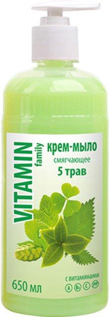 5 трав крем-мыло смягчающее EFTI CosmeticsEFTI Cosmetics<br>Нежное крем мыло бережно очищает и питает ваши руки витаминами и необходимыми микроэлементами. После использования оставляет на ваших руках приятный аромат.<br>        <br>Крем-мыло смягчающее с экстрактами мяты, клевера, крапивы, зеленого чая и хмеля, содержащими витамины А, В6, С,РР. Эффективно и бережно очищает и смягчает кожу, придает легкий и свежий аромат.<br>Состав: вода, натрий лаурет сульфат, натрий хлорид, диэтаноламиды жирных кислот кокосового масла, кокамидопропилбетаин, стерен-акрилатес кополимер и коко-глюкозиды, метилхлоризотиазолинон и метилтиозолинон, кислота лимонная, красители Е 110, Е 122, экстракты трав, парфюмерная композиция.<br><br>Линейка: 5 трав крем-мыло смягчающее EFTI Cosmetics<br>Объем мл: 650<br>Пол: Женский
