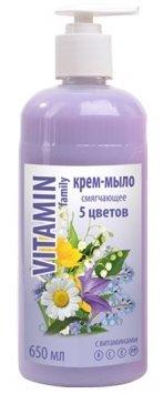 5 цветов крем-мыло смягчающее EFTI CosmeticsEFTI Cosmetics<br>Нежное крем мыло бережно очищает и питает ваши руки витаминами и необходимыми микроэлементами. После использования оставляет на ваших руках приятный аромат.<br>        <br>Эффективно очищает и смягчает кожу, оставляя легкий и приятный аромат.Серия 5 цветов с экстрактами цветов, содержащими витамины А, С, Е, РР.<br><br>Линейка: 5 цветов крем-мыло смягчающее EFTI Cosmetics<br>Объем мл: 650<br>Пол: Женский