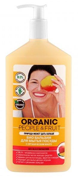 Organic PeopleOrganic People<br>Производство: Россия Био бальзам с органическим манго - это самое нежное безопасное и эффективное моющее средство с ярким, тропическим ароматом, который мгновенно поднимет настроение.<br>        <br>Самое нежное, безопасное и эффективное моющее средство с ярким, тропическим ароматом, которое мгновенно поднимет настроение. Отлично справляется с мытьем посуды, фруктов, овощей и детских игрушек. Прекрасно растворяет жир и удаляет различные загрязнения в холодной воде. До блеска очищает металлические столовые приборы, сковороды и кастрюли, не оставляя разводов. Увлажняет и питает кожу рук, предотвращая раздражение. Для достижения идеальной чистоты не обязательно использовать агрессивную бытовую химию.<br><br>99,5% натуральных компонентов<br>экологически чистое моющее<br>средство идеален для мытья посуды<br>фруктов и овощей подходит для мытья детских игрушек<br>ухаживает и увлажняет кожу рук<br><br>Не содержит опасных химических веществ: парабены, SLS, EDTA и NTA, нефтепродукты, фосфаты, фталаты, фенолы, сульфаты, формальдегид.&amp;nbsp;<br>Способ применения:&amp;nbsp;нанесите небольшое количество геля на губку, вымойте посуду, смойте водой.&amp;nbsp;Можно использовать&amp;nbsp;для мытья&amp;nbsp;фруктов, овощей и детских игрушек.&amp;nbsp;<br>Состав:&amp;nbsp;вода очищенная, 5-15%: анионное ПАВ*, &amp;lt;5%: неиногенное ПАВ*; морская соль, органический экстракт манго, органический экстракт банана, органическое масло абрикосовых косточек, органическое эфирное масло лимона, витамин Е, растительный глицерин, замутнитель, парфюмерная композиция, катон, лимонная кислота, натуральный краситель бета-каротин. * - ингредиенты растительного происхождения.&amp;nbsp;<br><br>Линейка: Organic People<br>Объем мл: 500<br>Пол: Женский