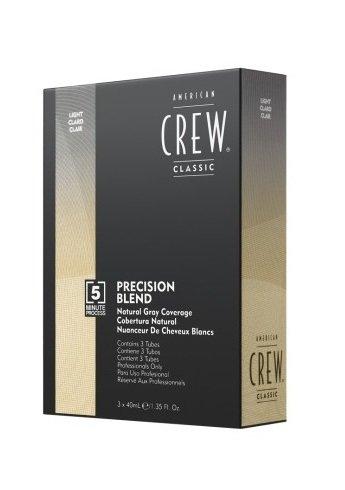 American CrewAmerican Crew<br>Производство: США Седина никому не идет, если, конечно, это не нордический блондин. При этом мужчины особенно трепетно относятся к своим волосам, ведь в отличии от женщин среди них краски не в почете. Однако существует способ вернуть молодость вашим волосам и придать им естественный цвет.<br>        <br>Краска для седых волос Precision Blend Блонд была разработана специалистами American Crew специально для мужчин, следящих за своим обликом. Уникальная краска для мужчин позволяет скрыть седину всего за 5 минут. Краска Precision Blend Блонд имеет приятную кремообразную текстуру, она проста и удобна в использовании. Благодаря краске для седых волос Precision Blend Блонд вы можете добиться как легкой маскировки седины, так и полного закрашивания в зависимости от желаемого эффекта. Цвет держится до 6 недель без эффекта отрастания волос. Одной упаковки хватает на 6 окрашиваний. Смешивается с биоактиватором Precision Blend 4,5%. Продукт не предназначен для лиц моложе 16 лет. Перед использованием рекомендуется провести тест на аллергические реакции.<br>Способ применения: смешайте биоактиватор Precision Blend 4,5% с краской в пропорции 1:1. Для коротких волос достаточно 10 мл активатора и 10 мл краски. Далее в зависимости от ожидаемого результата, нанесите средство на волосы.&amp;nbsp;<br><br>смягчение (25% покрытия седины): Краска наносится на волосы с помощью спонжа путем промакивания им волос. Данная техника помогает убрать желтизну, придавая волосам благородный оттенок.<br>скрадывание (50% покрытия седины): Краска наносится на волосы с помощью щеточки для окрашивания. Придает волосам есстественный оттенок, подчеркивает текстуру.<br>приглушение (75% покрытия седины): Краска наносится на волосы с помощью специальной трехрядной расчески. Придает волосам равномерный оттенок и интенсивный живой блеск.<br>покрытие (100% закрашивание седины): Краска наносится с помощью кисти для окрашивания волос, что позволяет тщательно прокрасить волосы и избавит