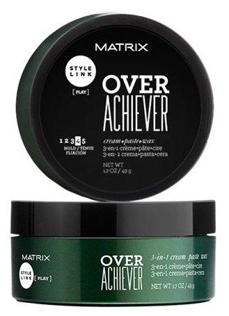 MatrixMatrix<br>Производство: США Продукт для текстурирования волос с инновационной формулой наносится как крем, текстурирует как паста, фиксирует как воск.<br>        <br>Over Achiever 3 в 1 - это продукт для текстурирования волос без эффекта склеивания. Распределяется по волосам как крем, фиксирует как воск, текстурирует как паста. Средство поможет придать волосам блеск, текстуру, зафиксировать волосы со средней силой и выделить отдельные прядки у волос короткой и средней длины. Не склеивает волосы, подходит для повторного моделирования укладки. Степень фиксации: 4.<br>Способ применения: Растереть небольшое количество продукта на ладонях. Нанести на влажные или сухие волосы для создания желаемого эффекта.По желанию смоделировать прическу заново в течения эффекта.<br><br>Линейка: Matrix<br>Объем мл: 50<br>Пол: Женский