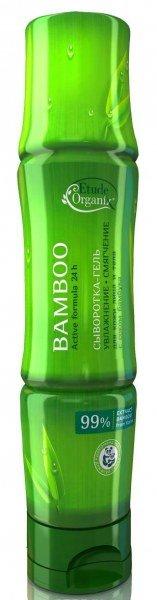 Бамбук Etude organix SharyShary<br>Увлажняющий гель для тела на 99% состоящий из сока бамбука – полезное лакомство для Вашей кожи. Натуральный сок бамбука славится большим количеством полезных свойств. Вашему телу он подарит непревзойденное чувство лёгкости и свежести. Охлаждающий эффект будет настоящим спасением в летнюю жару или после долгого трудового дня.<br>        <br>Универсальное средство для всех типов кожи многофункционального действия - увлажняет, питает, смягчает и тонизирует кожу, дарит непревзойденное чувство лёгкости и свежести. В результате применения кожа становится более гладкой и упругой, стойкой к неблагоприятному влиянию внешней среды, на клеточном уровне обновляются и укрепляются эластановые и коллагеновые волокна. Сок бамбука матирует кожу и сужает поры, обладает омолаживающим эффектом, восстанавливает структуру соединительной ткани, регулирует обменные процессы в коже, эффективен против стрий и целлюлита.<br>Способ применения:<br>&amp;nbsp;<br><br>маска или крем для лица - нанести на чистую кожу (для маски более толстым слоем на 10 мин.), может использоваться как база под макияж.<br>сыворотка для ежедневного увлажнения кожи всего тела - нанести на кожу после душа.<br>маска для области вокруг глаз с успокаивающим эффектом - нанести гель на ватные диски и приложить их на закрытые веки на 10 мин.<br>успокаивающий лосьон - нанести на кожу после загара, бритья или депиляции.<br>гель от солнечных ожогов - нанести толстым слоем на пораженные участки тела на 15 мин.<br><br>&amp;nbsp;<br>Состав: Bambusa Vulgaris Extract, Glycerin, Butylene Glycol, Vaccinium Angustifolium (Blueberry) Fruit Extract, Punica Granatum Fruit Extract, Centella Asiatica Extract, Cuscuta Japonica Seed Extract, Opuntia Coccinellifera Flower Extract, Honey Extract, Portulaca Oleracea Extract, Water, Hamamelis Virginiana (Witch Hazel) Extract, Cordyceps Sinensis Extract, Rheum Palmatum Root Extract, Velvet Extract, Angelica Gigas Root Extract, Glycyrrhiza Glabra (Licorice) Root E
