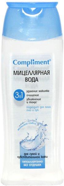 ComplimentCompliment<br>Производство: Россия Для эффективного удаления макияжа, очищения от загрязнений и качественного ухода за кожей глаз и лица, насыщения ее влагой, освежения и придания ощущения комфорта косметической компанией &amp;laquo;Тимекс&amp;raquo; была разработана мицеллярная вода 3 в 1 Compliment.<br>        <br>Эта мицеллярная вода обладает способность оказывать одновременно тройное воздействие &amp;ndash; удалять с глаз и лица макияж, глубоко очищать от загрязнений, увлажнять и освежать кожу. Она имеет специальную формулу с высокой концентрацией увлажняющих и успокаивающих компонентов, которые эффективно удаляют с кожного покрова декоративную косметику и разные загрязнения, легко усваиваются клетками кожи, мгновенно придавая ощущение свежести и комфорта.<br>За счет содержания в составе гиалуроновой кислоты продукт отлично увлажняет и поддерживает насыщенность кожи влагой на протяжении 24 часов, повышает ее упругость и выравнивает текстуру, защищает от преждевременно старения.<br>Мицеллярная вода также обладает гипоаллергенной формулой, в ней не содержится спирта, силиконов и парабенов, она не стягивает и не раздражает кожу. Этот продукт рекомендуется к использованию людям, у которых чувствительная кожа, требующая мягкого ухода за собой без применения мыльных средств.<br><br>Линейка: Compliment<br>Объем мл: 200<br>Пол: Женский