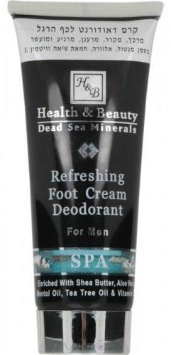 Health&amp; BeautyHealth &amp; Beauty<br>Производство: Израиль Специальный освежающий крем-дезодорант Refreshing Foot Cream Deodorant заботится о мягкости и свежести кожи стоп, подарив чувство ухоженности и чистоты. Особенный крем-дезодорант хорошо увлажняет, питает и защищает кожу стоп от агрессивного влияния окружающей среды. Он хорошо расслабляет мышцы ног и снимает усталость, возвращая чувство бодрости и свежести.<br>        <br>Крем- дезодорант для ног с охлаждающим эффектом для мужчин Health&amp;amp;Beauty - питательный и расслабляющий крем с охлаждающим эффектом. Облегчает усталость, вызванную долгим стоянием на ногах и после спортивных нагрузок. Крем обогащен экстрактом гингко-билоба, маслом чайного дерева. Крем нейтрализует неприятный запах, расслабляет ноги. Содержит экстракт гаммамелиса для нейтрализации неприятного запаха ног. Крем обогащен маслом Ши, сочетание которого с солью Мертвого моря снимает чувство тяжести ног и отеки. Рекомендуется для всех, кто проводит длительное время на ногах.<br>Способ применения: применять перед обуванием и перед сном, массажировать ноги до полного впитывания крема.<br>Состав: экстракт гинко билоба, масло чайного дерева, экстракты арники, гамамелиса, масло ши, соль и вода Мертвого моря.<br><br>Линейка: Health&amp; Beauty<br>Объем мл: 100<br>Пол: Унисекс