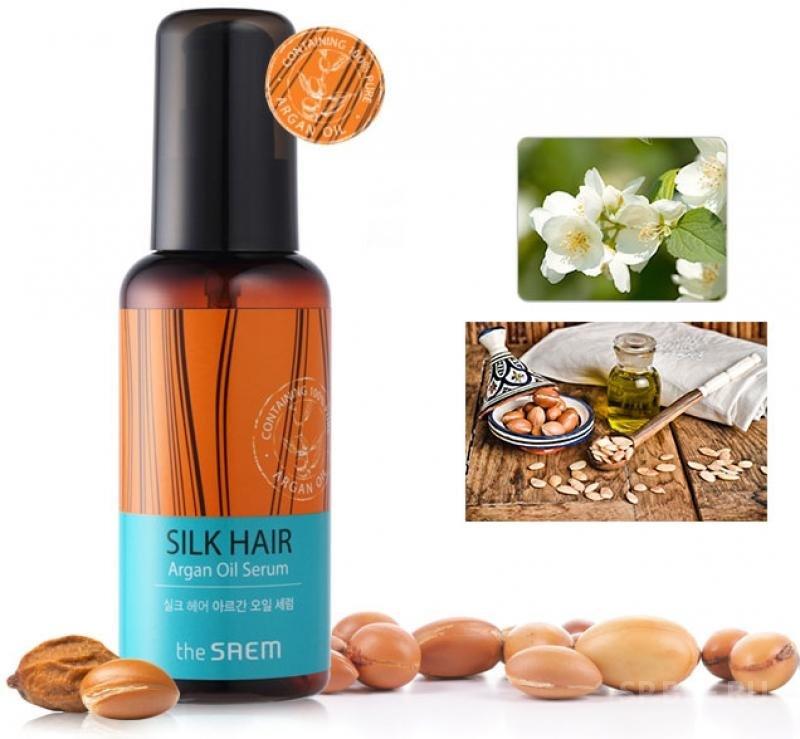 Silk Hair Argan Oil Serum SaemSaem<br>Восстанавливающая интенсивная сыворотка для волос. В ее основе аргановое масло благодаря уникальному составу микроэлементов широко применяемое при создании косметических средств для ухода за лицом, кожей тела, ногтями. Наличие жирных кислот в составе арганового масла обеспечивает питание и восстановление безжизненных тусклых волос, витамины и антиоксиданты создают защиту и стимулируют рост, попутно питая кожу головы.<br>Действие:<br><br>Питающее и укрепляющее действие арганового масла обеспечивают его ценнейшие компоненты, укрепляя луковицы, предотвращают ломкость и выпадение волос, возвращая их к жизни дарят блеск и силу.<br>Даже поврежденные волосы благодаря наличию в составе сыворотки аминокислот шелка быстро восстанавливаются.<br><br>SILK HAIR Argan Oil Serum&amp;nbsp;будет полезно использовать на любом типе волос, в любое время года его применение актуально в жаркие месяцы, она защитит волосы от пересыхания и УФ лучей, осенью и весной &amp;ndash; от перепадов температур, зимой обеспечит дополнительным необходимым для нормального роста питанием кожу головы и непосредственно волосы.<br>Компоненты сыворотки&amp;nbsp;компании The Saem&amp;nbsp;легко проникают в волосы, насыщают влагой, питанием и необходимыми для защиты и роста компонентами.<br>Способ применения: нанести сыворотку на чистые волосы, распространив вещество по всей длине.<br><br>Линейка: Silk Hair Argan Oil Serum Saem<br>Объем мл: 80<br>Пол: Женский