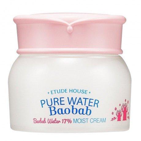 Pure Water Baobab Moist Cream Etude HouseEtude House<br>Крем, предназначенный для ухода за чувствительной и молодой кожей, имеет легкую гелевую консистенцию, которая при контакте с кожей мгновенно тает. Pure Water Baobab Moist Cream содержит несколько ценных компонентов: Экстракт баобаба – мощный природный антиоксидант, который останавливает естественный процесс старения, наполняет кожу влагой и полезными веществами, возвращает прежнюю упругость, восстанавливает клетки и разглаживает морщины. Экстракт содержит аскорбиновую, лимонную и тартаровую кислоты. Экстракт моринга содержит антибиотик, уменьшающий кожные воспаления, эффективно очищает поры от загрязнений, снимает раздражения, лечит акне, а также наполняет кожу влагой и полезными веществами, разглаживает морщины, стимулирует процессы обмена, выводит токсины и заживляет раны. Также Pure Water Baobab Moist Cream содержит экстракт кардамона, лотоса и сливы. Лотос отлично успокаивает кожу, устраняет любые воспаления, избавляет от покраснений, ускоряет регенерацию клеток, дарит упругость и живое сияние. Кардамон обладает очищающими и дезинфицирующими свойствами, благодаря чему улучшает состояние даже самой проблемной кожи. Слива заметно омолаживает кожу, крем бережно питает кожу, делает ее здоровой и сияющей, насыщает ее кислородом, создает водный барьер и задерживает влагу внутри. При постоянном применении крема косметической компании Etude House кожа станет упругой, невероятно мягкой и шелковистой, лицо будет сиять здоровьем и красотой. Способ применения: крем нанести на кожу, распределить легкими массажными движениями. Оставить до полного впитывания. Состав: Water, Adansonia Digitata Fruit Extract, Butylene Glycol, Glycerin, Cyclopentasiloxane, Moringa Pterygosperma Seed Extract, Cyclohexasiloxane, Trehalose, Hydrolyzed Adansonia Digitata?Extract, Prunus Mume Fruit Extract, Nasturtium Officinale Extract, Nelumbo Nucifera Flower?Extract, Lecithin, Ammonium Acryloyldimethyltaurate/Vp Copolymer, Hydroxyethyl Acrylat