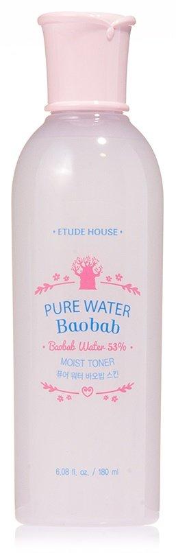 Pure Water Baobab Moist Toner Etude HouseEtude House<br><br>Тонер для бережного и комплексного ухода за кожей содержит 79% увлажняющих экстрактов, мягко очищает кожу от ороговевших клеток, подготавливает к дальнейшему уходу, помогает полезным веществам проникать во все слои, выравнивает текстуру кожи. Средство идеально подойдет для ухода за молодой и чувствительной кожей обладает нежной, тающей текстурой, моментально впитывается и начинает благотворно воздействовать на кожу.<br>Pure Water Baobab Moist Toner&amp;nbsp;содержит:<br><br>Экстракт моринги насыщает эпидермис кислородом, эффективно чистит поры от любых загрязнений, устраняет раздражения, лечит угревую сыпь, выравнивает текстуру кожи, стимулирует восстановление клеток, способствует быстрому заживлению ран. Моринга содержит антибиотик, снижающий риск возникновения воспалений.<br>Экстракт баобаба прекрасно увлажняет кожу, разглаживает морщины и останавливает процесс старения, напитывает кожу живительной влагой и полезными ингредиентами, повышает упругость, запускает процесс обновления клеток, устраняет существующие морщины. Лимонная, аскорбиновая и тартаровая кислоты усиливают благотворное воздействие баобаба.<br>Экстракт лотоса смягчает и успокаивает кожу, снимает воспаления, избавляет от покраснений, восстанавливает клетки кожи, возвращает утраченную упругость, дарит естественное сияние.<br>Экстракт кардамона очищает кожу от любых загрязнений, повышает ее эластичность, значительно улучшает внешний вид.<br>Экстракт сливы обладает омолаживающими свойствами, устраняет все признаки старения, дарит коже жизненную силу и энергию.<br><br>Тонер южнокорейской компании Etude House сделает кожу гладкой, нежной, идеальной ровной, вернет красоту и продлит молодость, великолепно освежает и бережно ухаживает за кожей.<br>Способ применения: нанести тоник сразу после умывания легкими похлопывающими движениями.<br><br>Линейка: Pure Water Baobab Moist Toner Etude House<br>Объем мл: 180<br>Пол: Женский