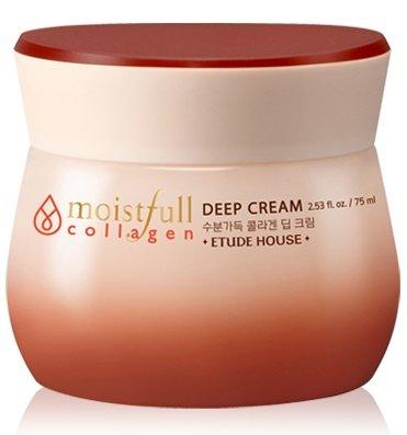 Moistfull Super Collagen Deep Cream Etude HouseEtude House<br>Крем разработан для увлажнения глубоких слоев кожи и создания защитного барьера от агрессивного воздействия окружающей среды. Обладает вязкой структурой, содержит морской коллаген 49% и масло баобаба. Придает коже упругость, укрепляет структуру кожи, интенсивно питает, выравнивает текстуру кожи, придает сияние. оживляет сухую, дряблую кожу, закрепляет влагу в глубоких слоях кожи. Помогает стимулировать производство собственного эластана и коллагена. Не содержит парабенов, минеральных масел, бензофенола, талька.<br>Способ применения: нанесите на кожу мягкими, круговыми движениями.<br>Состав: Hydrolyzed Collagen, Butylene Glycol, Hydrogenated Polyisobutene, Glycerin, Cetyl Ethylhexanoate, Cyclopentasiloxane, Cyclohexasiloxane, Octyldodecyl Myristate, Trehalose, Jojoba Esters, Glyceryl Stearate, Polyglyceryl-3 Methylglucose Distearate, Peg-40 Stearate, Phytosteryl/Behenyl/Octyldodecyl Lauroyl Glutamate, Adansonia Digitata Fruit Extract, Adansonia Digitata Seed Oil, Glyceryl Caprylate, Cetearyl Alcohol, Stearic Acid, Ammonium Acryloyldimethyltaurate/Vp Copolymer, Alcohol, Water, Kaolin, Palmitic Acid, Poloxamer 407, Polysorbate 20, Polyacrylate-13, Polyisobutene, Peg-100 Stearate, Phytantriol, Disodium Edta, Phenoxyethanol, Fragrance<br><br>Линейка: Moistfull Super Collagen Deep Cream Etude House<br>Объем мл: 75<br>Пол: Женский