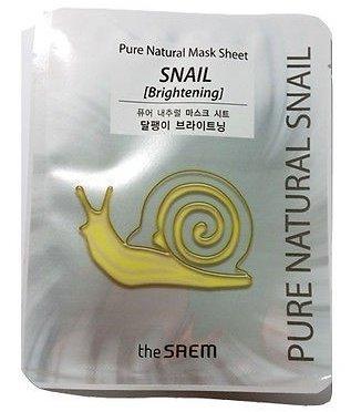 Pure Natural Mask Sheet [Snail Brightening ] SaemSaem<br>Возрастные ограничения:&amp;nbsp;рекомендуется к применению с 30 лет.<br>Тип кожи:&amp;nbsp;рекомендуется для для тусклой и вялой возрастной кожи склонной к сухости.<br>Листовые маски удобны в применении и очень эффективны, поскольку позволяют сыворотке воздействовать на кожу длительное время.<br>Маски серии The Saem Pure Natural Mask Sheet представлены в трёх вариантах, которые отличаются основным компонентом. Все маски содержат растительные экстракты с антиоксидантными, омолаживающими и защитными свойствами.<br>Свойства продукта:<br><br>увлажняет и питает кожу;<br>тонизирует, стимулирует обменные процессы;<br>восстанавливает и заживляет повреждения;<br>замедляет процессы увядания и омолаживает;<br>осветляет цвет кожи и выравнивает его;<br>усиливает природную защиту кожи от агрессии внешней среды;<br>снимает воспаление и раздражение;<br>оберегает от бактерий и грибков.<br><br>Активные компоненты:<br><br>фильтрат секреции улитки;<br>экстракт розы столистной оказывает антивозрастное и омолаживающее воздействие, тонизирует, подтягивает, регенерирует, снимает воспаление и раздражение, заживляет ранки, стягивает поры, избавляет от сухости и шелушения, придаёт коже яркость и выравнивает её цвет;<br>экстракт эдельвейса альпийского содержит танин, который замедляет процессы старения кожи. Эдельвейс устраняет воспаление и раздражение, защищает от бактерий и грибков, оберегает от вредного воздействия УФ-лучей;<br>экстракт фрезии увлажняет, замедляет процессы увядания кожи, омолаживает, смягчает и выравнивает кожу, избавляет от сухости и шелушения;<br>экстракт лотоса содержит антиоксиданты, тонизирует, увлажняет, осветляет и придаёт коже яркость.<br><br>Компоненты, входящие в состав всех масок:<br><br>Экстракт лакрицы (солодки) в восточной медицине пользуется почётом наравне с женьшенем благодаря выраженным противовоспалительным, антимикробным, успокаивающим и восстанавливающим свойствам. В косметике лакрицу используют 