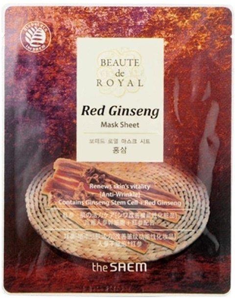 Beaute тканевая с экстрактом женьшеня Beaute de Royal Mask Sheet - Red Ginseng SaemSaem<br>The Saem Beaute de Royal Mask Sheet - Red Ginseng - это гидро&amp;shy;гелевая тканевая маска&amp;nbsp;с экстрактом женьшеня.<br>Тканевая маска применяется для ухода за зрелой, тусклой, безжи&amp;shy;зненной кожей лица. Входящий в состав экстракт женьше&amp;shy;ня является природным стимулятором, оказывает тони&amp;shy;зирующий эффект, улучшает упругость кожи, сни&amp;shy;жает количество мелких морщинок, активизирует есте&amp;shy;ственные процессы регенерации кожи.<br>Эффективно выра&amp;shy;внивает кожные заломы. Результат заметен с перво&amp;shy;го применения.<br>Способ применения: маску накладвают на предварительно очищенное лицо, обе&amp;shy;спечивая плотное прилегание к коже. Время возде&amp;shy;йствия 30 минут. После снятия маски остатки сре&amp;shy;дства распределяют по коже и дают впитаться.<br><br>Линейка: Beaute тканевая с экстрактом женьшеня Beaute de Royal Mask Sheet - Red Ginseng Saem<br>Объем мл: 20<br>Пол: Женский