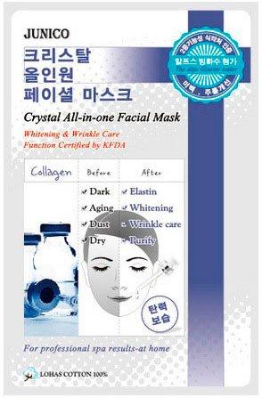 Junico Crystal All-in-one Facial Mask Collagen MijinMijin<br>Маска удобна в использовании, нанести ее на лицо, через минут 20-30 маска на лице практически полностью высохнет, ее нужно просто снять и сделать легкий массаж — вбить остатки раствора пальцами в кожу. Пользуйтесь тканевыми масками и ваша кожа, будет вам благодарна.<br>        <br>Collagen Essence - одна из шести вариаций корейских масок MJ Junico Crystal All-In-One Facial Mask. Позиционируется как маска из ткани против всех проблем и обладает укрепляющим эффектом. Данные маски помогают при распространенных проблемах кожи лица - расширение пор, сухость и вялость, морщинки, неровный тон и тусклость.<br>Появление эффекта ориентировочно составляет 15 минут после накладывания и сохраняется 24 часа.&amp;nbsp;<br>Как правильно сделать тканевую маску?Перед использованием очищаем лицо тоником и распределяем на лице ткань, держим 15-20 минут. Снимаем и дополняем процедуру массажем с похлопыванием, пока остатки маски полностью не впитаются кожей.<br>Желательно применять через 2-3 дня.<br><br>Линейка: Junico Crystal All-in-one Facial Mask Collagen Mijin<br>Объем мл: 25<br>Пол: Женский