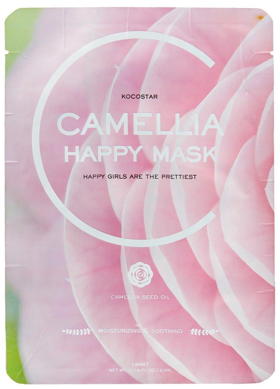 Camellia Happy Mask KocostarKocostar<br>Чтобы кожа лица была нежной, как лепестки прекрасной камелии, рекомендуется применять маску, пропитанную экстрактом и маслом камелии.<br>Экстракт камелии, а также масло ее семян отличаются высоким содержанием антиоксидантов&amp;nbsp;(витамины A, E,C, группы B), танина, полифенолов. Также в составе камелии незаменимый для зрелой кожи кофермент Q10. Благодаря такому составу, экстракт камелии великолепно защищает кожу от агрессивного воздействия окружающей среды, в том числе УФ-излучения, а также замедляет процесс старения клеток.<br>Маска с камелией&amp;nbsp;увлажняет кожу и оберегает ее от потери влаги, снимает шелушения и раздражения, способствует осветлению пигментации&amp;nbsp;и выравниванию тона кожи, защищает от негативного воздействия окружающей среды и замедляет процессы старения клеток кожи.<br>Также в составе маски экстракты алоэ, центеллы азиатской, портулака, гинкго билоба, керамиды, гиалуроновая кислота<br>Способ применения: приложить маску на очищенную кожу лица, разгладить и оставить на 15-20 минут, затем маску снять, а остатки эссенции вмассировать.<br><br>Линейка: Camellia Happy Mask Kocostar<br>Объем мл: 23<br>Пол: Женский