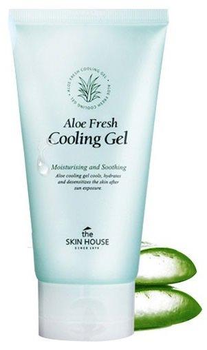 Aloe Fresh Cooling Gel The Skin HouseThe Skin House<br>Освежающий гель для тела эффективно увлажняет и тонизирует кожу, снимает усталость и стресс, а так же сокращает раздражения, вызванные негативными факторами окружающей среды. Делает кожу мягкой и поддерживает гидробаланс на оптимальном уровне до 24 часов. Гель прекрасно подходит как для лица, так и для тела.Быстро успокаивает покраснения, охлаждает и является прекрасным средством для ухода за кожей после загара. Сок алое вера в составе средства обладает заживляющими свойствами, глубоко увлажняет сухую кожу лица и тела. Улучшает цвет лица, делает кожу гладкой и нежной на ощупь. Легкая текстура в виде геля позволяет ему мгновенно впитываться без эффекта липкости, глубоко увлажняя и насыщая влагой изнутри. Можно наносить слой за слоем для еще большего увлажнения. Подходит для всех типов кожи, в том числе для чувствительной.<br>Способ применения: нанесите небольшое количество геля на предварительно очищенную кожу лица или тела. Для достижения максимального эффекта охлаждения предварительно пометите гель в холодильник.<br>Подходит для: все типы кожи, в особенности для сухой.<br> Состав: вода, спирт, 1,3 бутиленгликоль, 1,2-гександиол, гиалуронат натрия, экстракт листа барбадосского алоэ. экстракт черешни, экстракт манго, экстракт личи китайского, триэтаноламин, карбомер, акрилат/C10-30 алкил акрилатный кроссполимер, ксантановая камедь, ароматизатор.<br><br>Линейка: Aloe Fresh Cooling Gel The Skin House<br>Объем мл: 100<br>Пол: Женский