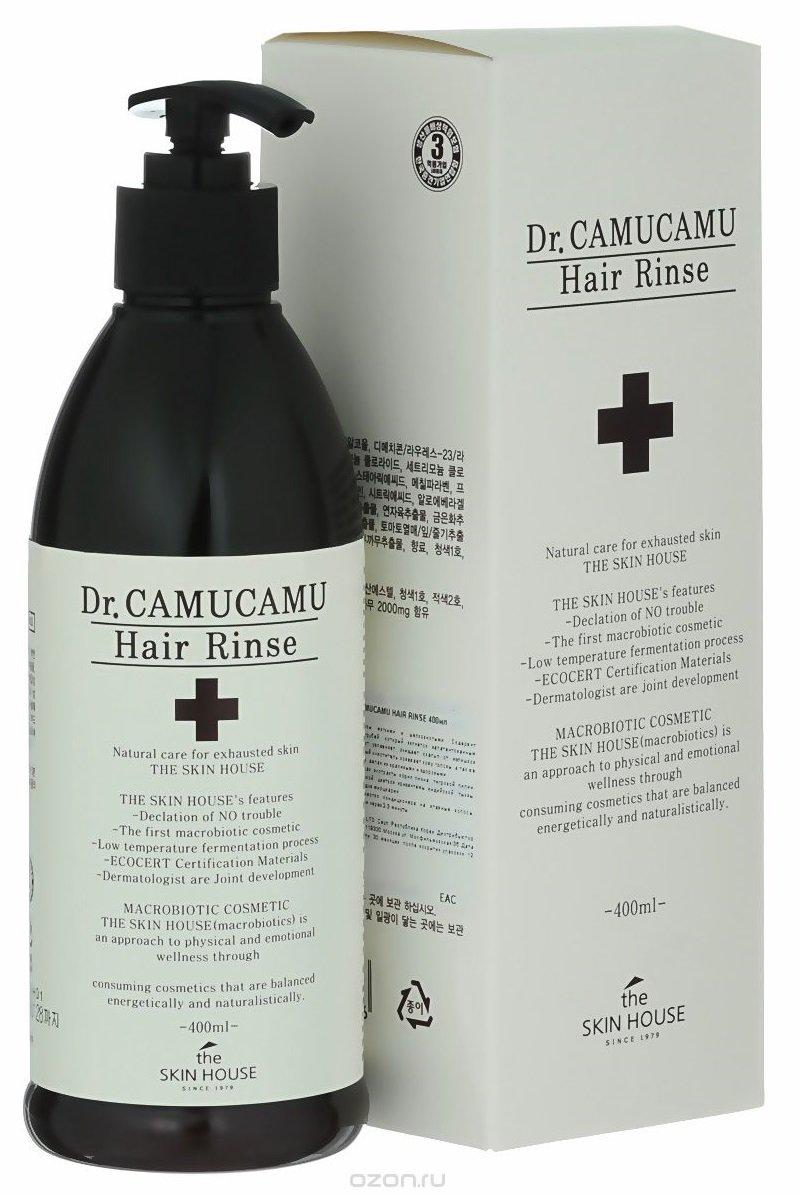 Dr. Camucamu Hair Rinse The Skin HouseThe Skin House<br>Лечебный бальзам активно восстанавливает поврежденные волосы, делая их здоровыми и блестящими. Оздоравливает кожу головы благодаря плодам каму-каму, которые обладают уникальным составом аминокислот и витаминов. Укрепляет и смягчает волосы, успокаивая кожу головы. Содержит ферментированный экстракт рисовых отрубей, который является запатентованным компонентом, который прекрасно увлажняет волосы и делает блестящими. Питает волосы от корней до самых кончиков, делая их красивыми и здоровыми благодаря экстрактам корня пиона, тигровой лилии, цветков лотоса, цветков жимолости японской, цветков хризантемы индийской, тыквы, листьев барбадосского алоэ, ягод асаи и плодов мирциарии в составе средства. Благодаря богатому составу ингредиентов Ваши волосы станут сильными, здоровыми и блестящими!<br>Способ применения: нанесите необходимое количество бальзама на волосы после шампуня на 3-5 минут, помассируйте кожу головы, смойте теплой водой.<br>Подходит для: все типы кожи/волос.<br>Состав: вода, циклометикон, фенилтриметикон, цетеариловый спирт, глицерил стеарат, экстракт ягод каму-каму, экстракт ягод асаи, цетримония хлорид, диметикон, лаурет-23.ю лаурет-3, экстракт листа алоэ барбадосского, экстракт коры/сока пиона молочноцветкового, экстракт лилии тигровой, экстракт цветков лотоса орехоносного, экстракт жимолости японской, экстракт цветков хризантемы индийской, экстракт плодов тыквы, экстракт плодов томата, экстракт рисовых отрубей, стеариновая кислота, масло арганы, полисорбат 60, метилпарабен, поликватерниум-10, триэтаноламин, ароматизатор, пропилпарабен, климбазол, лимонная кислота, CI 19140, CI 42090, CI 16185.<br><br>Линейка: Dr. Camucamu Hair Rinse The Skin House<br>Объем мл: 400<br>Пол: Женский