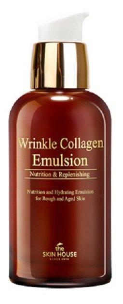 Wrinkle Collagen Emulsion The Skin HouseThe Skin House<br>Повышает тонус, выравнивает эпителий, останавливает появление мимических морщин. Отличается легкой невесомой текстурой, легко усваивается.<br>        <br>Эмульсия с антивозрастным действием, подтягивает и укрепляет кожу. Повышает тонус, выравнивает эпителий, останавливает появление мимических морщин. Отличается легкой невесомой текстурой, легко усваивается, что позволяет сразу же перейти к следующему этапу.<br><br>Вытяжки лекарственных трав успокаивают и снимают воспаления.<br>Масло макадамии эффективно при признаках увядания, помогает в скором времени улучшить тургор и питает полезными веществами.<br>Аденозин &amp;ndash; мощный антивозрастной ингредиент, разглаживает морщинки и замедляет старение на клеточном уровне.<br>Коллаген оптимизирует структуру эпидермиса, устраняет повреждения, насыщает влагой, придает мягкость и нежность. При регулярном использовании тонизирует и улучшает упругость. Это природный компонент эпидермиса, при недостатке которого дерма теряет упругость и здоровый вид. Продукт восстанавливает нормальный уровень содержание коллагена. Межклеточные связи восстанавливаются, улучшается регенерация. Подходит для чувствительного или сухого типа, успокаивает раздражения после фотодерматита (аллергическая реакция на солнечные лучи). Обладает антиоксидантным эффектом, способствует быстрой регенерации и возвращению здоровья.<br><br>Способ применения: после предварительного очищения и тонизирования нанести небольшое кол-во на поверхность лица. Дать впитаться, затем продолжите обычный уход.<br>Подходит для: все типы кожи, в особенности для кожи с признаками старения и морщинами.<br>Состав:&amp;nbsp;вода, глицерин, сквалан, циклометикон, минеральное масло, гиалуронат натрия, цетиловый этилгексаноат, масло ореха макадамии, стеариновая кислота, диметикон/винил диметикон кроссполимер, глицерил стеарат, карбомер, сорбитан стеарат, диметикон, содиум полиакрилат, C13-14 изопарафин, лаурет-7, линолиевая кисло