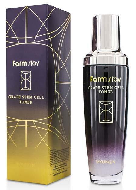 Grape Stem Cell Toner FarmStayFarmStay<br>Чтобы вашей кожи не коснулись проблемы сухости, тусклости и преждевременного старения, ей необходимо обеспечить качественное ежедневное очищение, увлажнение и питание, которой в полной мере сможет предоставить косметический продукт с фито-стволовыми клетками винограда в виде ультраувлажняющего тоника Grape Stem Cell Toner.&amp;nbsp; Тоник избавляет от сухости и шелушения, глубоко увлажняет кожу, насыщая ее витаминно-минеральным комплексом, восстанавливает водно-липидный баланс, значительно улучшает состояние кожи, делает ее более гладкой, мягкой, упругой и эластичной.В состав тоника также входят гидролизованный белок гороха и экстракт киви, способствующие отбеливанию и омоложению, придают коже свежести и приятной шелковистости. Ее тонкий, экзотичный аромат подарит мгновения счастья и беззаботности. Способ применения:<br><br>Смочите ватный диск тонером, нанесите средство на очищенную кожу лица.<br>При необходимости, используйте утром и вечером. <br><br>Состав: Water, Butylene Glycol, Glycerin, C13-14 Isoparaffin, Laureth-7, Polyacrylamide, PEG-60 Hydrogenated Castor Oil, Phenyl Trimethicone, Phenoxyethanol, Carbomer, Triethanolamine, Methylparaben, Vitis Vinifera (Grape) Callus Culture Extract,Actinidia Chinensis (Kiwi) Fruit Extract, Hydrolyzed Pea Protein, Lecithin, Olea Europaea (Olive) Fruit Extract, Squalane, Phytosterols, Ceramide 3, Butyrospermum Parkii (Shea Butter), Propanediol,Allantoin, Panthenol, Betaine, Citrus Paradisi (Grapefruit) Fruit Extract, Pyrus Malus (Apple) Fruit Extract, Solanum Lycopersicum (Tomato) Fruit Extract, Citrus Aurantium Dulcis (Orange) Fruit Extract, Adenosine, Disodium EDTA, Perfume.&amp;nbsp;Меры предосторожности: хранить в сухом месте, в местах недоступных для детей, избегать попадания в глаза. При выявлении каких-либо реакций и симптомов, а также аллергической реакции немедленно прекратите использование продукта, проконсультируйтесь у дерматолога при осложнениях.<br><br>Линейка: Grape S