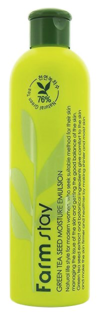 Green Tea Seed Moisture Emulsion FarmStayFarmStay<br>Сила растений и новых технологий в небольшом флаконе от Farm Stay &amp;ndash; это обогащенная экстрактом зеленого чая и листьев алоэ, гиалуроновой кислотой и другими активными веществами эмульсия для увлажнения и регенерации кожи. Средство эффективно успокаивает любые раздражения и воспаления, снимает признаки усталости кожи, следы иссушения из-за недостатка влаги и негативного влияния природных факторов. Нанесение натурального состава чрезвычайно комфортно. Безопасное средство несет лишь благо, не причиняя ни малейшего вреда даже склонной к аллергическим реакциям и покраснениям коже. Эффект же от применения не заставляет ждать. Лицо выглядит отдохнувшим, молодым, здоровым и сияющим.&amp;nbsp;Способ применения: <br><br>Нанесите необходимое количество эмульсии на кожу похлопывающими движениями.<br>Дайте впитаться и продолжите свой уход.<br>Для излишне жирной кожи эмульсия может заменить основной уходовый крем. <br><br>Состав: Water, Sodium Hyaluronate, Butylene Glycol, Glycerin, Alcohol, Camellia Sinensis Leaf Water, PEG-60 Hydrogenated Castor Oil, Phenoxyethanol, Carbomer, Triethanolamine, Methylparaben, Camellia Sinensis Seed Extract, Lavandula Angustifolia (Lavender) Extract, Rosmarinus Officinalis (Rosemary) Extract, Melaleuca Alternifolia (Tea Tree) Extract, Aloe Barbadensis Leaf Extract, Geranium Maculatum Extract, Betaine, Disodium EDTA, Xanthan Gum, Fragrance.Меры предосторожности: хранить в сухом месте, в местах недоступных для детей, избегать попадания в глаза. При выявлении каких-либо реакций и симптомов, а также аллергической реакции немедленно прекратите использование продукта, проконсультируйтесь у дерматолога при осложнениях.<br><br>Линейка: Green Tea Seed Moisture Emulsion FarmStay<br>Объем мл: 300<br>Пол: Женский