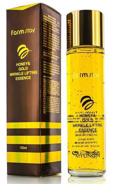 Honey&amp; Gold Wrinkle Lifting Essence FarmStayFarmStay<br>Эссенция с золотом и экстрактом мёда прекрасно увлажняет и предотвращает преждевременное старение кожи. Экстракт меда обладает обеззараживающим, противовоспалительным, успокаивающим, антисептическим, питательным и омолаживающим действием. Антибактериальные свойства меда препятствуют развитию кожных заболеваний, акне, угревой сыпи. Выдающиеся питательные свойства меда давно известны и нашли широкие применение в косметологии. Благодаря меду, кожа подтягивается, разглаживаются мелкие морщинки. Экстракт коллоидного золота &amp;ndash; настоящий эликсир молодости для кожи. Частички золота тонизируют клетки эпидермиса, предотвращают их разрушение свободными радикалами. Благодаря золоту, ваша кожа засияет красотой и здоровьем. Средство не содержит парабенов, животных жиров и других вредных для кожи веществ.&amp;nbsp;Способ применения: наносите эссенцию после применения тонера или на чистую кожу. Подходит для использования каждый день.&amp;nbsp;Состав: вода, глицерин, дипропиленгликоль, бетаин, глицерил полиакрилат, ПЭГ-60 гидрогенизированное касторовое масло, феноксиэтанол, триэтаноламин, карбомер, аллантоин, дикалия глицирризат, гиалуронат натрия, гидроксиэтилцеллюлоза, аденозин, двунатриевая ЭДТК, гиалуроновая кислота, гидролизованный хитин, коллаген, фильтрат секреции улитки (0,65мг), экстракт алоэ, экстракт коры шелковицы белой, экстракт камелии китайской, золото (650ppm), 1-2-гександиол, ароматизатор.&amp;nbsp;Меры предосторожности: хранить в сухом месте, в местах недоступных для детей, избегать попадания в глаза. При выявлении каких-либо реакций и симптомов, а также аллергической реакции немедленно прекратите использование продукта, проконсультируйтесь у дерматолога при осложнениях.<br><br>Линейка: Honey&amp; Gold Wrinkle Lifting Essence FarmStay<br>Объем мл: 150<br>Пол: Женский