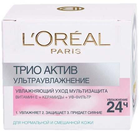 L`orealLOreal<br>Производство: Великобритания Loreal Paris Трио Актив Ультраувлажнение, дневной уход для нормальной и смешанной кожи защищает, увлажняет, и питает вашу кожу на протяжении всего дня.  Увлажнеяет 24 часа, помогает удерживать влагу, улучшает цвет лица и интенсивно питает.<br>        <br>Лаборатории LOreal Paris создали гамму Увлажнение Эксперт, обеспечивающую интенсивное увлажнение для любого типа кожи. Ультроувлажнение для нормальной и смешанной кожи оказывает тройное действие:<br><br>Увлажняет<br>Защищает<br>Придает сияние Сразу после нанесения кожа превосходно увлажнена и защищена от ежедневного агрессивного воздействия внешней среды. Она снова обрела комфорт, эластичность и сияние.<br><br>Способ применения:<br><br>Наносите каждое утро на тщательно очищенное лицо и шею. Используйте как самостоятельный уход, так и в качестве основы под макияж.<br>Избегайте области вокруг глаз.<br><br><br>Линейка: L`oreal<br>Объем мл: 50<br>Пол: Женский