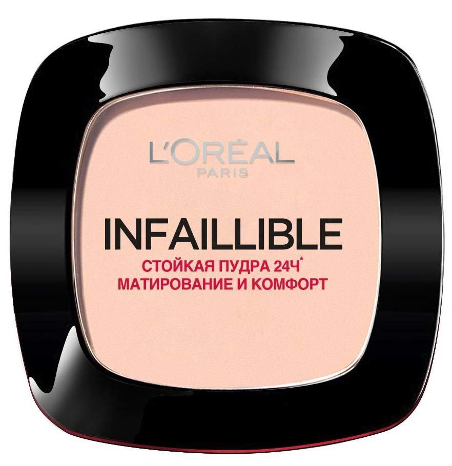 Infaillible 24ч , в асортименте L`orealLOreal<br>Производство: Великобритания Ультрастойкая компактная пудра Infallible, с покрытием как у тонального крема, надежно маскирует недостатки придавая красивый, свежий и сияющий цвет лица. Легко наносится, обеспечивая оптимальное покрытие, защищая вашу кожу от сухости в течении всего дня.<br>        <br>Мечтаете об идеально матовой коже в течение всего дня при любых обстоятельствах? Благодаря своей мягкой текстуре, матирующая пудра Infaillible 24ч обеспечивает непревзойденную стойкость и комфорт весь день. Результат - безупречно матовая кожа 24 часа.Способ применения:<br><br>Стойкая пудра Infaillible 24ч ровно покрывает кожу лица, делая ее матовой и скрывая несовершенства.<br>Без эффекта маски и без излишеств.<br><br><br>Линейка: Infaillible 24ч , в асортименте L`oreal<br>Пол: Женский