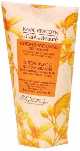 Витаминный коктейль для всех типов кожи Кафе КрасотыКафе Красоты<br>Производство: Россия Крем-мусс с нежной тающей текстурой эффективно очищает кожу лица, насыщает витаминами и полезными микроэлементами, дарит ощущение комфорта и свежести. Экстракт нероли тонизирует кожу, способствует ее активной регенерации.<br>Активные компоненты:<br><br>Экстракт нероли&amp;nbsp;тонизирует кожу, способствует ее активной регенерации.<br>Экстракт Мандарина&amp;nbsp;обеспечивает тонизирующее действие на кожу, проявляет вяжущие и охлаждающие качества, сужает расширенные поры и устраняет сальный блеск.<br><br>Способ применения: нанести небольшое количество крем-мусса на влажную кожу лица массажными движениями, затем смыть водой.<br>Состав: Aqua, Citrus Aurantium (Neroli) Extract (экстракт Нероли), Citrus reticulata (Tangerine) Extract (экстракт Мандарина), Sodium Cocoyl Isethionate, Steariс Acid, Zea Mays (Corn) Strach (Кукурузный Крахмал), Hamamelis (Hamamelis) Extract (экстракт Гамамелиса), Sodium Coco- amphoacetate, Prunus Amygdalus Dulcis (Sweet Almond) Oil (масло Миндаля), Prunus Persica (Peach) Kernel Oil (масло Персика), Polysorbate 20, Citrus reticulata (Tangerine) essential Oil (масло Мандарина), Riboflavin (Vitamin B) (Витамин B), Ascorbic Acid (Vitamin C) (Витамин C), Perfume, Sodium Benzoate, Potassium Sorbate, Sorbic Acid.<br><br>Линейка: Витаминный коктейль для всех типов кожи Кафе Красоты<br>Объем мл: 150<br>Пол: Женский