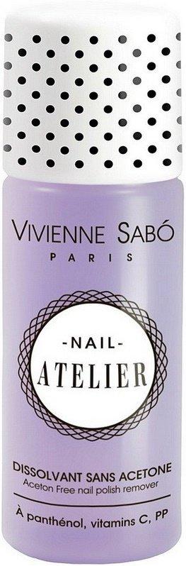 Nail Atelier Vivienne SaboVivienne Sabo<br>Производство: Франция Жидкость одним движением, без усилий снимает лак, не&amp;nbsp;повреждая ногтевую пластину, и&amp;nbsp;оставит на&amp;nbsp;ногтях тонкий цветочный аромат. Формула, содержит гиалуроновую кислоту, пантенол, витамины&amp;nbsp;С и&amp;nbsp;В3&amp;nbsp;для увлажнения и&amp;nbsp;питания ногтей.<br>Преимущества:<br><br>Идеально удалит любой лак, не&amp;nbsp;повреждая ногтевую пластину и&amp;nbsp;оставит на&amp;nbsp;ногтях тонкий цветочный аромат.<br>Без ацетона.<br><br>Способ применения: нанесите жидкость на&amp;nbsp;ватный диск, приложите к&amp;nbsp;ногтям, сделайте несколько круговых движений&amp;nbsp;&amp;mdash; лак без труда растворится. Главное преимущество этого средства&amp;nbsp;&amp;mdash; входящая в&amp;nbsp;состав гиалуроновая кислота и&amp;nbsp;отсутствие ацетона<br><br>Линейка: Nail Atelier Vivienne Sabo<br>Объем мл: 150<br>Пол: Женский