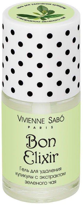 Bon Elixir Vivienne SaboVivienne Sabo<br>Производство: Франция Этот профессиональный гель&amp;nbsp;&amp;mdash; настоящая палочка-выручалочка. С&amp;nbsp;его помощью кутикула удаляется быстро и&amp;nbsp;безболезненно, а&amp;nbsp;в&amp;nbsp;дальнейшем ее&amp;nbsp;рост замедляется, зато кожа вокруг ногтя выглядит ухоженной и&amp;nbsp;ровной.<br>Профессиональный гель для удаления кутикулы- самый простой и быстрый способ сделать кожу вокруг ногтя красивой и ухоженной. Позволит быстро и безболезненно удалить кутикулу, не прибегая к помощи ножниц. Рост кутикулы замедляется, кожа вокруг ногтя приобретает ухоженный вид.<br>Способ применения: нанесите на&amp;nbsp;кутикулу, оставьте на&amp;nbsp;2-3&amp;nbsp;минуты, затем аккуратно сдвиньте кутикулу апельсиновой палочкой для маникюра и&amp;nbsp;тщательно вымойте руки. После процедуры рекомендуется использовать масло Bon Elixir.<br><br>Линейка: Bon Elixir Vivienne Sabo<br>Объем мл: 15<br>Пол: Женский