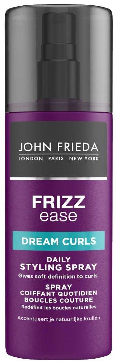 Frizz Ease Dream Curls John FriedaJohn Frieda<br>Производство: Великобритания Спрей для создания идеальных локонов оживляет локоны и придает им идеальную форму. Спрей превращает слабые волнистые волосы в привлекательные локоны. Формула с термозащитой, не содержащая спирта, не склеивает их, волосы становятся шелковистыми, остаются мягкими на ощупь и блестящими.<br>Спрей восстанавливает эластичность завитка и придает большую упругость и послушность от природы волнистым волосам.<br>Способ применения: перед использованием хорошо встряхните флакон. Равномерно и обильно распределяйте спрей по всей длине влажных волос. Скрутите небольшие пряди для формирования четких локонов и высушите волосы феном или при помощи фена с диффузором.<br>Состав:&amp;nbsp;Aqua, Glycerin, Amodimethicone, VP/VA Copolymer, Olive Oil PEG-7 Esters, Dimethicone PEG-8 Meadowfoamate, Magnesium Sulfate, Diazolidinyl Urea, Panthenol, VP/Dimethylaminoethylmethacrylate Copolymer, Polyquaternium-11, Cetrimonium Chloride, Trideceth-12, Propylene Glycol, Methylparaben, Propylparaben, Parfum, Citric Acid, Linalool, Butylphenyl Methylpropional, Limonene.<br><br>Линейка: Frizz Ease Dream Curls John Frieda<br>Объем мл: 200<br>Пол: Женский