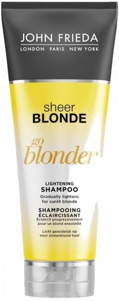 Sheer Blonde Go Blonder John FriedaJohn Frieda<br>Производство: Великобритания Профессиональный шампунь&amp;nbsp;Sheer Blonde Go Blonder&amp;nbsp;от торговой марки&amp;nbsp;John Frieda&amp;nbsp;создан специально для ухода за окрашенными и натуральными локонами, имеющими светлый оттенок. Он деликатно очищает кожу головы, освежает и отлично промывает пряди.<br>Формула средства, содержащая цитрусовый комплекс и экстракт ромашки, защищает локоны от выцветания, укрепляя и придавая волосам здоровый блеск и упругость, сохраняя насыщенность, глубину и сияние цвета. Шампунь&amp;nbsp;Sheer Blonde Go Blonder&amp;nbsp;придаст вашим локонам неповторимое солнечное сияние и блеск!<br>Особенности:<br><br>Нежно осветляет натуральные, мелированные и окрашенные светлые волосы.<br>Формула с цитрусовым комплексом и экстрактом ромашки.<br>Придает здоровый вид волосам.<br><br>Способ применения:&amp;nbsp;нанесите шампунь на влажные волосы, нежно помассируйте голову круговыми движениями до образования обильной пены. Тщательно ополосните. При необходимости повторите процедуру.<br>Используйте ежедневного для достижения желаемого результата.<br>Состав:&amp;nbsp;Aqua, Sodium Laureth Sulfate, Sodium Lauryl Sulfate, Lactic Acid, Glycol Distearate, Cetyl Alcohol, Betaine, Cocamidopropyl Betaine, Parfum, Cocamide MEA, Benzyl Alcohol, Guar Hydroxypropyltrimonium Chloride, Sodium Hydroxide, Sodium Chloride, Disodium EDTA, Malic Acid, Glycine, PPG-9, Stearoxypropyl Dimethylamine, Acid Yellow 3, C14-28 Isoalkyl Acid, Butylene Glycol, Crocus Sativus Flower Extract, Curcuma Longa Root Extract, C14-28 Alkyl Acid, Propylene Glycol, Methylchloroisothiazolinone, Stearyl Alcohol, Methylisothiazolinone, Vitis Vinifera Juice Extract, Acid Orange 7, Acid Violet 43, Citrus Medica Limonum Peel Extract, Chamomilla Recutita Flower Extract, Helianthus Annuus Seed Extract, Glycerin, Alcohol, Tocopherol, PEG-40 Hydrogenated Castor Oil, Vitis Vinifera Seed Extract, Limonene, Butylphenyl Methylpropional, Linalool, Hexyl 