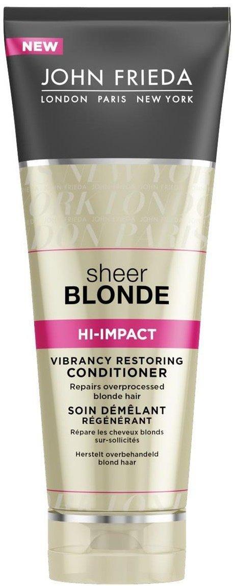 Sheer Blonde Hi-Impact John FriedaJohn Frieda<br>Производство: Великобритания Кондиционер&amp;nbsp;Sheer Blonde Hi-Impact предназначен для восстановления сильно поврежденных осветленных волос. Он увлажняет ваши волосы, восстанавливает даже после самых сильных повреждений, питает истонченные участки и делает их упругими, сильными и эластичными. Современная формула защищает волосы от негативного воздействия внешней среды.<br>Средство избавит вас от проблем, связанных с последствиями частого окрашивания, мелирования, распрямления и химзавивок.<br>Особенности:<br><br>Для сильно поврежденных осветленных волос.<br>Возвращает волосам упругость, силу и эластичность.<br>Восстанавливает структуру волос.<br>Упрощает расчесывание.<br>Защищает от воздействия внешней среды.<br>Не окрашивает волосы.<br><br>Способ применения:&amp;nbsp;начните уход с использования восстанавливающего шампуня интенсивного действия для сильно поврежденных волос HI-IMPACT, далее нанесите кондиционер на влажные волосы от корней до самых кончиков и затем тщательно смойте.<br>Состав:Aqua, Cetearyl Alcohol, Behenamidopropyl Dimethylamine, Cetyl Esters, Dipropylene Glycol, Stearyl Alcohol, Dimethicone, Parfum, Lactic Acid, Bis-Cetearyl Amodimethicone, Benzoic Acid, Benzyl Alcohol, Quaternium-91, Disodium EDTA, Cetrimonium Methosulfate, Steartrimonium Chloride, Glycine, Hydrolyzed Milk Protein, Glycerin, Malic Acid, Oryza Sativa Bran Oil, Stearoxypropyl Dimethylamine, C14-28 Isoalkyl Acid, C14-28 Alkyl Acid, Silk Amino Acids, Butylphenyl Methylpropional, Limonene, Hexyl Cinnamal, Linalool.<br>&amp;nbsp;<br><br>Линейка: Sheer Blonde Hi-Impact John Frieda<br>Объем мл: 250<br>Пол: Женский