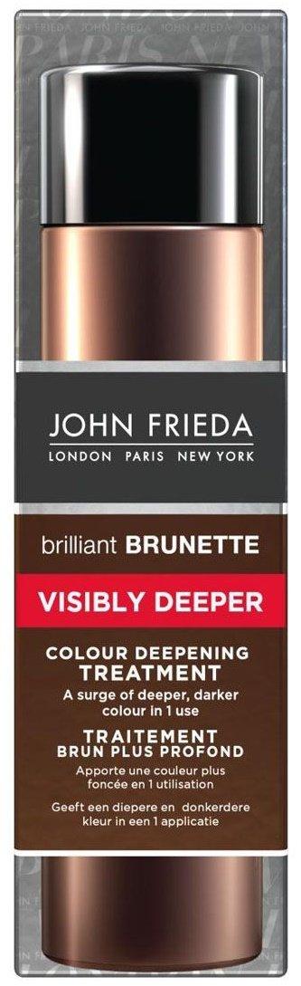 Brilliant Brunette Visibly Deeper John FriedaJohn Frieda<br>Производство: Великобритания Эффект более глубокого и темного цвета за одно применение. Придает волосам дополнительный темный и насыщенный оттенок. Всего за 5 минут средство для создания насыщенного и глубокого цвета Visibly Deeper дарит волосам более интенсивный, сияющий темный оттенок.<br>Способ применения: начните уход с использования шампуня Visibly Deeper. Массажными движениями равномерно распределите достаточное количество средства по всей длине мокрых волос. Расчешите и оставьте на 5 минут, затем тщательно смойте. Для получения более насыщенного цвета, средство необходимо оставить на 10 минут.<br><br>Применяйте средство по необходимости.<br>*Использование безопасно для натуральных, окрашенных и мелированных волос.<br>Не рекомендуется для волос оттенка блонд и седых волос.<br><br><br>Линейка: Brilliant Brunette Visibly Deeper John Frieda<br>Объем мл: 150<br>Пол: Женский