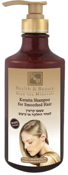 Health&amp; BeautyHealth &amp; Beauty<br>Производство: Израиль Шампунь Health&amp;amp; Beauty Keratin Shampoo For Smoothed Hair основан на запатентованной технологии, которая укрепляет волосяной фолликул и предназначен для волос, которые подверглись выпрямлению или высокому температурному воздействию с помощью фена или керамических выпрямителей - утюжков. Кератин - это вещество, которое покрывает волосяной фолликул и, таким образом, закрывая кончики волос, создает защитное внешнее покрытие, которое окружает и разглаживает волосы.<br>        <br>Кератин - это вещество, которое покрывает волосяной фолликул и, таким образом, закрывая кончики волос, создает защитное внешнее покрытие, которое окружает и разглаживает волосы.<br>Шампунь Health &amp;amp; Beauty Keratin Shampoo For Smoothed Hair основан на запатентованной технологии, которая укрепляет волосяной фолликул и предназначен для волос, которые подверглись выпрямлению или высокому температурному воздействию с помощью фена или керамических выпрямителей - утюжков. Кератин - это вещество, которое покрывает волосяной фолликул и, таким образом, закрывая кончики волос, создает защитное внешнее покрытие, которое окружает и разглаживает волосы.<br>Шампунь Health &amp;amp; Beauty Keratin Shampoo For Smoothed Hair основан на запатентованной технологии, которая укрепляет волосяной фолликул и предназначен для волос, которые подверглись выпрямлению или высокому температурному воздействию с помощью фена или керамических выпрямителей - утюжков.<br>Действие: шампунь Health and Beauty Keratin Shampoo For Smoothed Hair питает, восстанавливает, мягко очищает волосы, не вызывает сухости и увеличивает сопротивление ломкости волос. В шампуне представлена инновационная формула без солей, которая защищает и продлевает срок выпрямления. Этот шампунь обогащен чистым Кератином, маслом Аргании, экстрактом Ромашки, экстрактом Алоэ Вера, маслом Жожоба, Витамином Е и белками, которые реабилитируют волосы.<br>Результат: после применения шампуня Ke