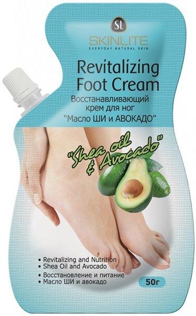 Масло Ши и Авокадо SkinliteSKINLITE<br>Восстанавливающий крем для ногМасло ши и авокадо разглаживает, смягчает и восстанавливает сухую, потрескавшуюся кожу ног, значительно улучшая ее внешний вид. Предотвращает появление трещин и способствует заживлению уже существующих.<br>        <br>Восстанавливающий крем для ног Масло ши и авокадо разглаживает, смягчает и восстанавливает сухую, потрескавшуюся кожу ног, значительно улучшая ее внешний вид. Предотвращает появление трещин и способствует заживлению уже существующих.<br>Крем эффективно снимает усталость и заряжает энергией, обладает приятным ароматом, быстро впитывается, глубоко увлажняет и питает кожу. Благодаря высокому содержанию мочевины, пантенола, масел ши, авокадо и жожоба крем оказывает противовоспалительное, смягчающее и защитное действие, а содержание гиалуроновой кислоты, экстрактов меда и бамбука способствует задержанию влаги в глубоких слоях эпидермиса и делает кожу гладкой и мягкой.<br>Способ применения: нанесите массажными движениями на кожу стоп, включая область между пальцами, после принятия душа или ванны.&amp;nbsp;Не смывайте. Используйте ежедневно или так часто, как это необходимо. Также рекомендуется наносить крем каждый раз перед сном.<br>Меры предосторожности:<br><br>Не используйте продукт, если на ногах есть открытые раны, порезы, раздражения, экзема или кожа склонна к аллергии.<br>Не используйте продукт, если есть чувствительность к какому-либо из компонентов состава. Если в процессе применения на коже появляется раздражение, прекратите применение и проконсультируйтесь с врачом.<br>Избегайте попадания на слизистую оболочку глаз. В случае попадания - тщательно промойте водой.<br>Используйте только для ног! Только для наружного применения. Не глотать!<br>5. Храните в месте, недоступном для детей, при температуре от 0 до 25 градусов. Избегайте попадания прямых солнечных лучей.<br><br>Состав:&amp;nbsp;вода,&amp;nbsp; глицерин, минеральное масло, мочевина, цетеариловый спирт, пчелиный воск, глицери