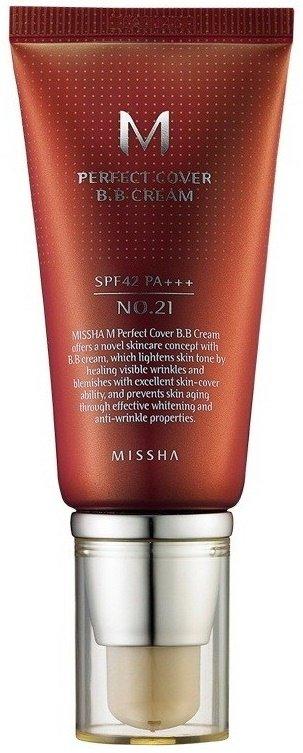 M Perfect Cover BB Cream SPF42/PA+++  MisshaMissha<br>Крем, который завоевал любовь женщин Европы, Азии, и, конечно же, не обделен вниманием российских женщин. Этот многофункциональный ББ-крем универсален: подходит для любого типа кожи, не имеет возрастных ограничений. Крем с приятной текстурой обладает великолепной кроющей способностью, быстро подстраивается под тон кожи и создает естественное покрытие, без эффекта маски. Крем позволяет замаскировать многие кожные несовершенства, выравнивая ее тон и сглаживая поверхность. Кроме великолепных маскирующих способностей крем обладает еще многими преимуществами.<br>MISSHA M Perfect Cover BB Cream защищает кожу от разрушительного воздействия агрессивного УФ-излучения (высокая степень защиты SPF42) и предупреждает фотостарение. Также этот ББ-крем оказывает оздоравливающее и ухаживающее воздействие на кожу, так как в его составе высокое содержание натуральных компонентов.<br>Активные компоненты:<br><br>Керамиды 3 &amp;ndash; уменьшают признаки обезвоженности, способствуют разглаживанию морщин, возвращают коже упругость и эластичность, гладкость и шелковистость, устраняют шелушения.<br>Аденозин &amp;ndash; аминокислота, которая способствует избавлению от морщин, ускоряет макро- и микроциркуляцию крови, регулирует окислительно-восстановительные процессы в клетках кожи, замедляя её старение.<br>Арбутин &amp;ndash; блокирует формирование пигмента меланина и препятствует образованию чрезмерной пигментацией, делает кожу светлее, смягчает и выравнивает ее тон.<br>Гиалуроновая кислота &amp;ndash; глубоко увлажняет кожу, смягчает глубокие морщины и разглаживает их как снаружи, так и изнутри, создает на поверхности кожи невидимый барьер, удерживающий влагу внутри кожи и защищающий её от пересыхания.<br>Гидролизованный коллаген &amp;ndash; способствует эффективному увлажнению кожи, стимулирует регенерацию волокон собственного коллагена в коже, замедляет процессы старения, возвращает коже упругость и эластичность. Гидролизованный колла