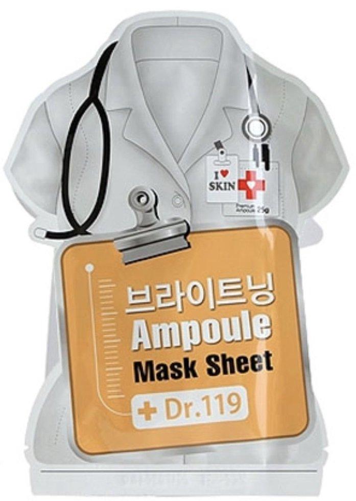 Dr.119 Brightening ampoule mask sheet BaviphatBaviphat<br>Маска разработана для интенсивного осветления кожи. В составе маски мощный витаминный комплекс, а также отбеливающий компонент растительного происхождения, безопасный и эффективный.<br>        <br>Недовольны тусклым и сероватым цветом лица? Такое случается, если ваша кожа подвергается вредному влиянию агрессивных экологических факторов или же вы допускаете погрешности в уходе за ней. В любом случае, это далеко не повод для печали! Возьмите уникальный продукт, созданный в лабораториях южнокорейской косметической компании Urban Dollkiss, и обеспечьте вашему кожному покрову профессиональную заботу &amp;mdash; не хуже, чем в дорогом салоне красоты.<br>Маска из ткани пропитана специальным составом, в котором есть все необходимые ингредиенты для улучшения тона кожи. Они способствуют осветлению эпидермиса, выравниванию его оттенка и избавлению от сероватого тусклого эффекта. Dr.119 Brightening Ampoule Mask Sheet предупреждает излишнюю пигментацию, восстанавливает нормальный тургор и эластичность кожи.<br>В составе маски мощный&amp;nbsp;витаминный комплекс, а также осветляющий компонент растительного происхождения, безопасный и эффективный. Благодаря тщательно подобранным комапонентам придает тусклой коже здоровый тон, притягательное сияние и свежесть. Глубоко проникает в кожный покров, обеспечивая постепенное и ровное осветление пигментации и других темных пятен.<br>Способ применения: подготовьте кожу лица: проведите пилинг или протрите тоником, а затем тщательно высушите кожу. Откройте упаковку с маской. Снимите тонкую защитную плёнку (если она имеется) и приложите маску к коже. Распределите маску так, чтобы она не образовывала складки и пузыри. Время воздействия действия маски 15-20 минут. После маски рекомендуется нанести дневной крем.<br><br>Линейка: Dr.119 Brightening ampoule mask sheet Baviphat<br>Объем мл: 25<br>Пол: Женский