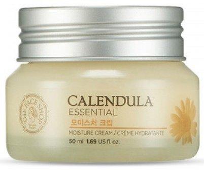 Calendula Essencial Moisture Cream The Face ShopThe Face Shop<br>Серия&amp;nbsp;CALENDULA&amp;nbsp;создана для интенсивного питания и увлажнения кожи. Сложная формула с растительными ингредиентами быстро наполняет кожу влагой и поддерживает водный баланс, сохраняет кожу нежной и упругой в течении дня. Благодаря экстракту календулы серия регулирует секрецию себума, уменьшает появление шрамов от угревой сыпи, сужает поры, укрепляет структуру кожной ткани. Серия подходит для всех типов кожи, особенно рекомендована сухой коже, коже с угревой сыпью и чувствительной коже.<br>Крем для лица&amp;nbsp;с экстрактом календулы имеет легкую консистенцию, быстро впитывается, не оставляя после себя липкости и жирности. Средство интенсивно увлажняет и питает кожу, смягчает её, успокаивает раздражения и убирает красноту, регулирует салоотделение и сужает поры, уменьшает шрамы от угревой сыпи, повышает эластичность кожи.<br>Мягкая, смягчающая и успокаивающая формула с растительными ингредиентами быстро увлажняем кожу, сохраняя влагу в течении всего дня!<br>В основу крема для лица входят:<br><br>экстракт календулы, алоэ, аллантоин - успокаивающее и противовоспалительное действие, ускоряют процесс регенерации клеток кожи;<br>масло камелии, масло ши, гиалуроновая кислота - глубокое увлажнение, повышают эластичность кожи.<br><br>Особенности продукта:<br><br>успокаивает легко раздражаемую кожу;<br>защищает слабую, чувствительную кожу от повреждений;<br>укрепление функции влагосбережения кожи (Чувствительная кожа часто имеет слабый защитный барьер, таким образом легко теряет влагу и необходимые питательные вещества);<br>смягчает и восстанавливает кожу.<br><br>Способ применения:&amp;nbsp;нанесите крем на очищенную увлажненную тонером кожу лица легкими массирующими движениями, избегая области вокруг глаз.<br>Состав:WATER/EAU, CALENDULA OFFICINALIS FLOWER EXTRACT, BUTYLENE GLYCOL, GLYCERIN, THEHALOSE, CETYL ETHYHEXANOATE, HYDROGENATED POLYDECENE, CAPRYLIC/CAPRIC TRIGLYCERIDE, CETEARYL ALCOHOL,