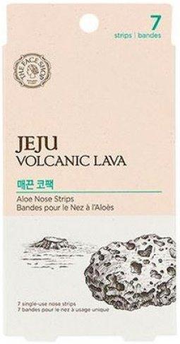 Jeju Volcanic Lava Aloe Nose Strips The Face ShopThe Face Shop<br>Весьма удобные&amp;nbsp;полоски&amp;nbsp;созданные для осуществления очистки пор лица в области носа. Использовать их легко, весьма просто и при этом эффективно, не создавая болезненных повреждений на лице. При регулярном использовании стикеров сальные железы очищаются, жирный блеск пропадает, а как финиш - на коже создается матирующий эффект и видимые недостатки кожи устраняются. Очищающие полоски помогут вам убрать ежедневные загрязнения покрывающие кожу, и при этом она становится здоровой и чистой.<br>Очищающая&amp;nbsp;полоска для удаления черных точек&amp;nbsp;в области носа содержит экстракт вулканической глины с экологически чистого острова Чечжу. Вулканический пепел превосходно очищает кожу от всех загрязнений и улучшает ее состояние. Помимо вулканического пепла, в полоске содержится экстракт алоэ, смягчающий и заживляющий кожу. Благодаря алоэ, эпидермис увлажняется и смягчается, предотвращается возникновение раздражений и покраснений кожи. Алоэ регулирует выработку себума, устраняет шелушения, заживляет микротравмы.<br>Действие пластырей:<br><br>эффективно очищают и сужают поры,<br>вытягивают черные точки из пор,<br>отшелушивают омертвевшие клетки кожи,<br>успокаивает раздраженную кожу,<br>ускоряет регенерацию клеток кожи,<br>разглаживают и смягчают кожу.<br><br>Полоски для носа матируют кожу, предотвращают появление акне и угрей.&amp;nbsp;Избавиться от черных точек&amp;nbsp;теперь просто, как никогда!<br>В упаковке 7 патчей.<br>Способ применения: после очищения кожи, обильно намочите нос в области переносицы. Стикер активируется только на влажной коже. Снимите прозрачную пленку со стикера и прислоните гладкой стороной к носу. Для лучшего распределения пластыря начните наложение с центра постепенно переходя к краям. Оставьте на лице в течение 10~15 минут до полного высыхания. Медленно удалите пластырь начиная с концов. Рекомендуется использовать не чаще 2-х раз в неделю. Для большего эффекта 