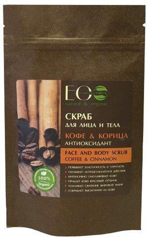Кофе и Корица EcolabEcolab<br>Производство: Россия EcoScrub – натуральный кофейный скраб для лица и тела, обладающий рядом уникальных косметических свойств: подтягивает, тонизирует кожу, насыщает, питает ее маслами, улучшает цвет и помогает эффективно бороться с целлюлитом и растяжками. EcoScrub выводит токсины из организма, оказывает сосудорасширяющее действие, благодаря этому, усиливается приток крови к проблемным участкам и ускоряется обмен веществ. Благодаря сильному отшелушивающему действию, скраб обладает очищающим эффектом, разглаживает кожу и борется с растяжками и целлюлитом. А масла, которые входят в состав, активно увлажняют и питают кожу.<br>        <br>Сладкое и пряное сочетание натурального кофе и корицы подарит роскошный уход коже. Скраб активно тонизирует и ревитализирует клетки кожи, повышает ее защитные функции, оказывает выраженное антицеллюлитное действие. Комплекс активных компонентов оказывает антибактериальное действие, благодаря чему кожа глубоко очищается. Скраб &amp;laquo;Кофе &amp;amp; Корица&amp;raquo; воодушевляет Вас и совершенствует кожу!<br>Кофе &amp;ndash; лучшее сочетание приятного и полезного для кожи. Кофеин раскрывает потенциал молодости, способтвует регенерации, выравнивает рельеф кожи, устраняет несовершенства, растяжки и акне, улучшает цвет и общее состояние кожи.<br>Скраб на основе кофе улучшает метаболизм в клетках кожи, уменьшает подкожные жировые отложения, повышает лимфодренаж, борется с эффектом &amp;laquo;апельсиновой корки&amp;raquo;, работает как антицеллюлитное и многопрофильное косметическое средство, улучшает цвет кожи (оказывает эффект легкого натурального бронзатора), устраняет тусклость, повышает тургор.<br>Кофейный скраб от EO Laboratorie может заменить несколько косметических средств. Он содержит ценные масла, обогащен морской солью, тростниковым сахаром, главное, изготовлен на основе высококачественного натурального кофе.<br>Действие:<br><br>Повышает эластичность и упругость кожи<br>Активное антицеллюлитное д