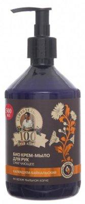 Смягчающее Бабушка АгафьяБабушка Агафья<br>Производство: Россия Смягчающее крем-мыло 100 трав Агафьи подарит вашим ручкам ухоженность, гладкость и роскошную бархатистость.<br>        <br>Био крем-мыло 100 трав Агафьи Смягчающее разработано для деликатного ухода за кожей рук. Созданное на основе целебных сибирских трав и растений, оно обладает мощным очищающим и противовоспалительным эффектами и нежно удаляет загрязнения, не пересушивая чувствительную кожу. Композиция из экстрактов мыльного корня и календулы байкальской дезинфицирует, питает и увлажняет кожу, борясь с зудом, шелушением и покраснениями. Благодаря натуральному составу средство прекрасно подходит для частого использования.<br>Способ применения: небольшое количество био крем-мыла нанесите на влажную кожу рук, вспеньте, смойте теплой водой.<br> Состав: Aqua with infusions of Calendula Officinalis Flower Extract (экстракт календулы), Gypsophila Paniculata Root Extract (экстракт белого мыльного корня), Chamomilla Recutita Flower Water (экстракт ромашки), Linum Usitatissimum Seed Oil, Xanthan Gum (льняное молочко); Sodium Laureth Sulfate, Sodium Chloride, Cocamidopropyl Betaine, Cocamide DEA, Styrene/Acrylates Copolymer, Coco-Glucoside, Citric Acid, Parfum, Benzyl Alcohol, Benzoic Acid, Sorbic Acid, CI 15895.<br><br>Линейка: Смягчающее Бабушка Агафья<br>Объем мл: 500<br>Пол: Женский