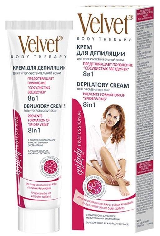 VelvetVelvet<br>Производство: Россия Абсолютное удаление нежелательных волос. Формула с противовоспалительным и успокаивающим действием укрепляет капилляры и ухаживает за кожей. Подходит для очень чувствительной кожи.<br>        <br>Подходит для очень чувствительной кожи.<br>Эффект крема для депиляции 8 в 1:<br><br>Абсолютное удаление нежелательных волос.<br>Формула с противовоспалительным и успокаивающим действием укрепляет капилляры и ухаживает за кожей.<br>Конский каштан предупреждает появление сосудистого рисунка и уменьшает его видимость<br>CapiSlow-комплекс делает волосы слабыми и замедляет их рост<br>Обогащенный маслами крем предотвращает появление раздражений<br>Растительные экстракты ускоряют регенерацию кожи после процедуры<br>Обеспечивает быстрое удаление даже коротких волос<br>Кожа ног выглядят идеальной, бархатной на ощупь, как после салонных процедур, и сохраняет гладкость на долгое время.<br><br><br>Линейка: Velvet<br>Объем мл: 125<br>Пол: Женский