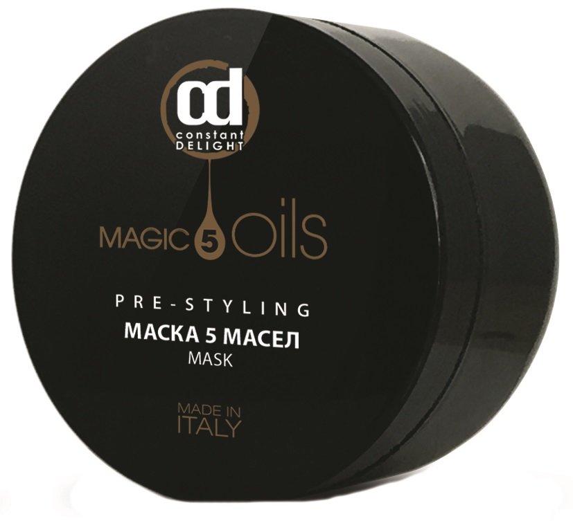 Constant DelightConstant Delight<br>Производство: Италия Маска 5 Масел для глубокого восстановления волос на клеточном уровне, роскошного блеска и непревзойденной мягкости. Для глубокого восстановления волос на клеточном уровне, роскошного блеска и непревзойденной мягкости. Формула маски, состоящая из 5 магических масел: макадамии, хлопка, жожоба, авокадо, арганы, - увлажняет, питает, защищает структуру чувствительных, пористых волос, возвращая им жизненную силу. Драгоценные масла обеспечивают волосам превосходный уход, а богатая текстура - потрясающий внешний вид. Маска имеет сияющий перламутровый блеск и подходит для всех типов волос. Способ применения: нанести небольшую порцию маски на влажные, очищенные шампунем глубокой очистки Pre-Styling волосы по всей длине, оставить на 3-5 минут, затем смыть.<br><br>Линейка: Constant Delight<br>Объем мл: 500<br>Пол: Женский