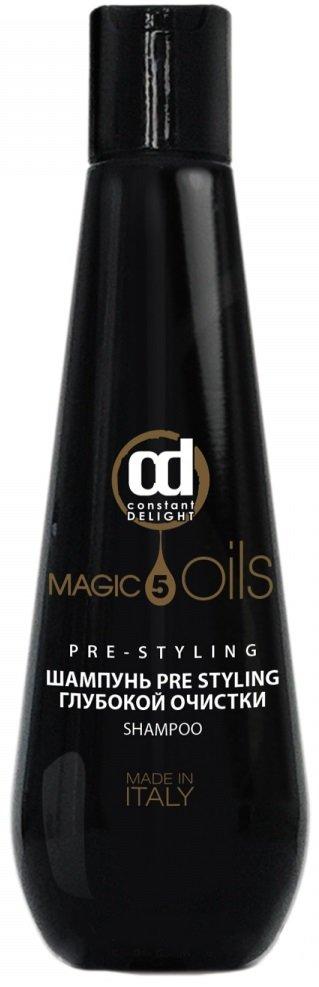 PRE STYLING Глубокой очистки 5 Масел Constant DelightConstant Delight<br>Производство: Италия Для превосходного очищения, роскошного блеска и непревзойденной мягкости. Шампунь деликатно очищает, увлажняет, питает, защищает структуру волос, возвращая им блеск и жизненную силу. Отлично подготавливает волосы к стайлингу. Благодаря инновационной микроэмульсионной технологии волосы становятся невероятно гладкими и красивыми.<br>        <br>Волосы после мытья должны быть легкими, послушными и рассыпчатыми. Все это свидетельствует о том, что моющее средство качественно удаляет все виды загрязнений с волос и кожи головы &amp;ndash; секрет сальных желез, лак, гель и т.д. Таким свойством обладает шампунь глубокой очистки &amp;laquo;5 Масел&amp;raquo; Pre Styling от Constant Delight. Продукт тщательно очищает волосы и готовит их для дальнейшей укладки. Как и все средства серии &amp;laquo;5 Масел&amp;raquo; шампунь содержит ценные масла арганы, макадамии, хлопка, жожоба и арганы, поэтому он не только выполняет свою непосредственную функцию, но и обеспечивает полноценный уход.<br>Способ применения: нанести на влажные волосы, вспенить, выдержать в течение 2 минут. Смыть большим количеством воды.<br><br>Линейка: PRE STYLING Глубокой очистки 5 Масел Constant Delight<br>Объем мл: 1000<br>Пол: Женский